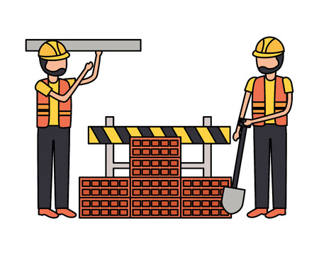 workers construction shovel wall brick equipment vector illustration Ilustrace