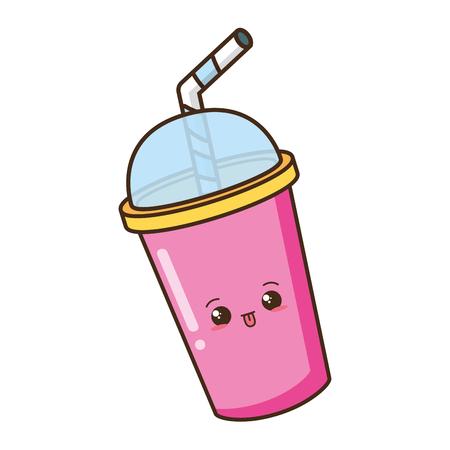 cartoon soda cup character vector illustration