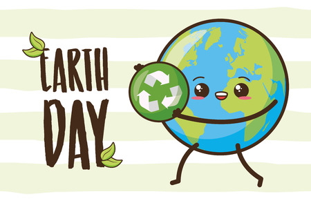 kawaii planet with recycle sign earth day card vector illustration Illustration