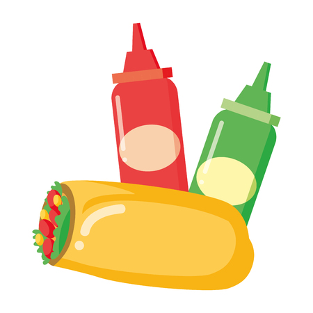 taco and sauces fast food white background vector illustration Stock Illustratie