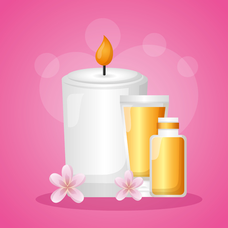 cosmetics bottles candle spa treatment therapy vector illustration
