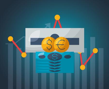 cash register money diagram financial stock market vector illustration