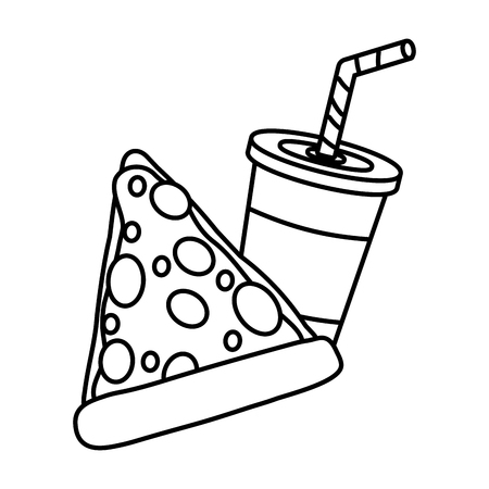 pizza and cola fast food white background vector illustration