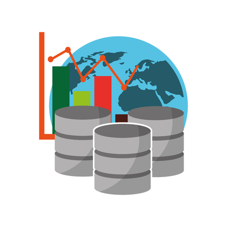 data center disks with statistical graphical and planet earth vector illustration design