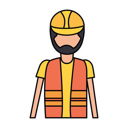 worker construction with helmet and vest vector illustration Ilustrace