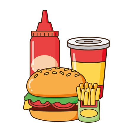 burger french fries soda sauce fast food vector illustration Ilustração
