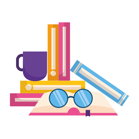 world book day books coffee cup and eyeglasses vector illustration