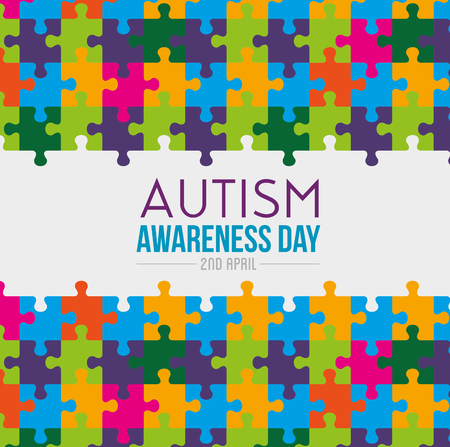 puzzles background to autiism awareness day vector illustration