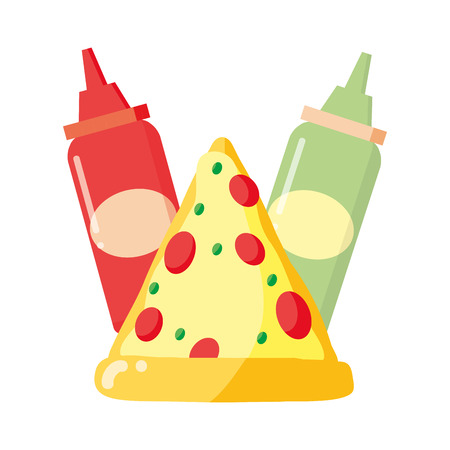 pizza sauces fast food white background vector illustration