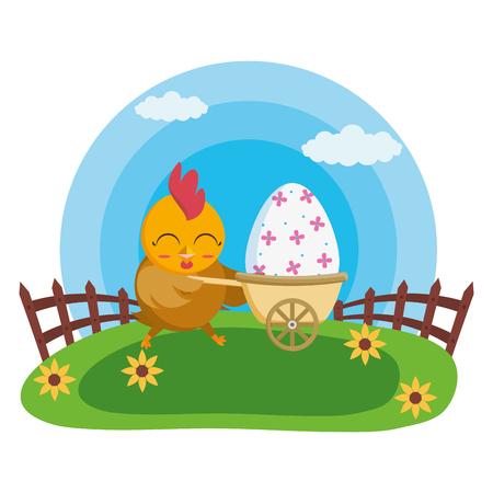 happy easter hen with egg in stroller vector illustration Foto de archivo - 124145983