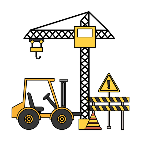 crane barrier forklift truck construction equipment vector illustration
