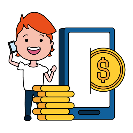 woman using smarphone with coins dollars vector illustration design Banque d'images - 124146013