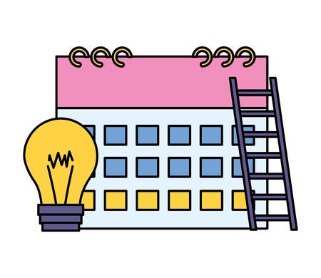 business calendar bulb stairs white background vector illustration vector illustration Standard-Bild - 124146015