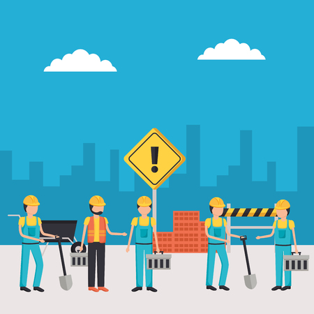 workers construction group employee workplace vector illustration