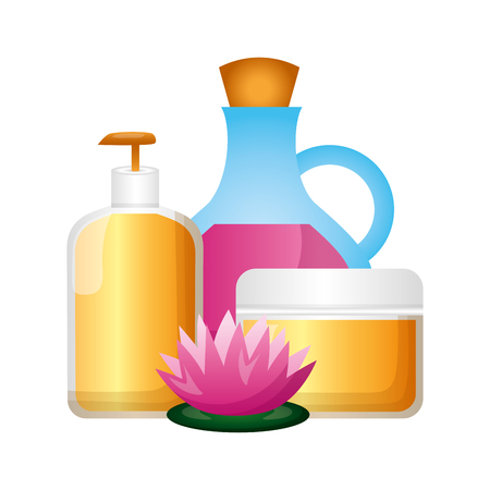 oil bottle gel cream flower spa therapy vector illustration 写真素材 - 124146040