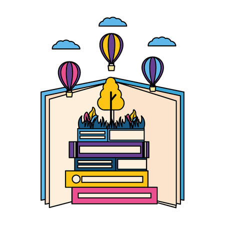 world book day literature learn know vector illustration Archivio Fotografico - 124146042