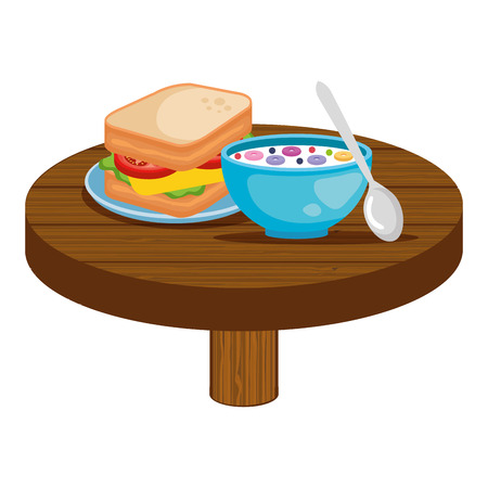 delicious breakfast in wooden table vector illustration design Standard-Bild - 119851676