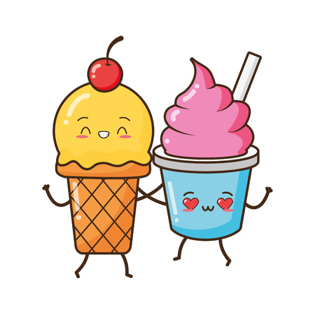 kawaii ice cream friendly fast food cartoon vector illustration