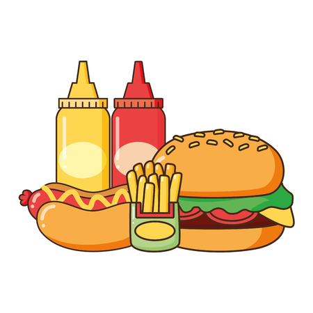 burger hot dog french fries and sauces fast food vector illustration Çizim