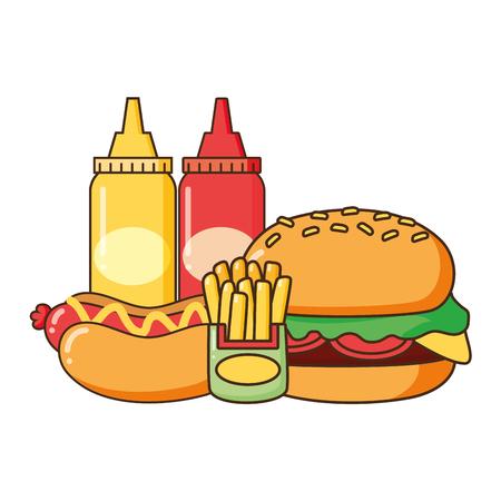 hamburguesa hot dog papas fritas y salsas comida rápida ilustración vectorial Ilustración de vector