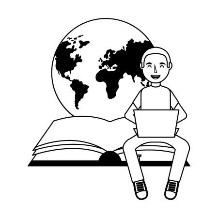 man using laptop world book day vector illustration