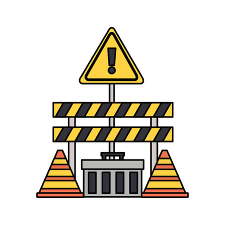 construction equipment barrier cone toolbox vector illustration
