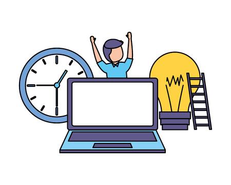 man laptop clock bulb stairs success vector illustration