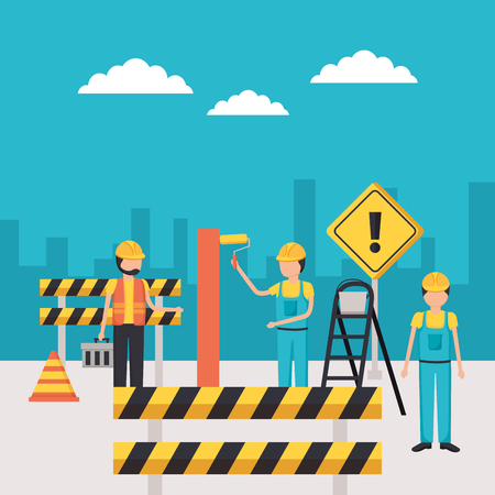 workers construction painting wall barrier vector illustration Çizim