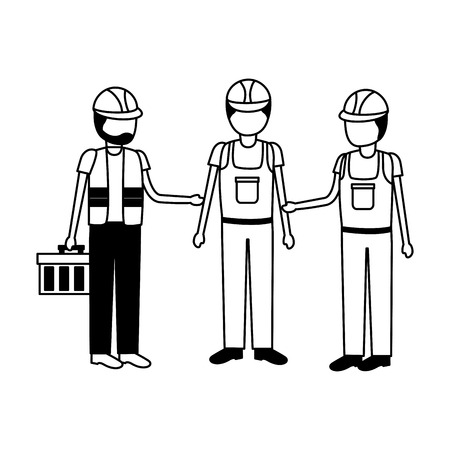 construction workers with toolkit equipment vector illustration 写真素材 - 124146112