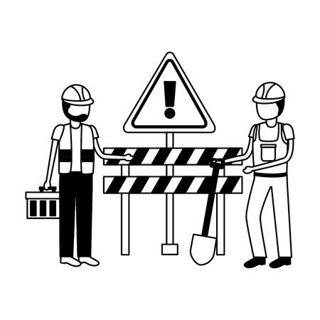 construction workers barrier shovel toolbox vector illustration Imagens - 124146124