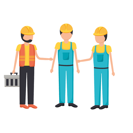construction workers with toolkit equipment vector illustration Banco de Imagens - 124146137