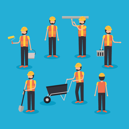 workers construction group professional tools vector illustration Ilustrace