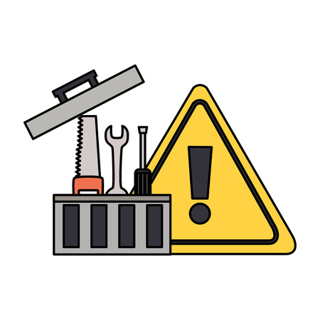 toolbox repair construction warning sign vector illustration Ilustrace