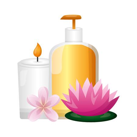 bottle dispenser gel candle flowers spa treatment therapy vector illustration 版權商用圖片 - 124146180