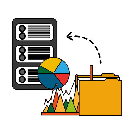 folder with server data and statistics graphics vector illustration design Stock Illustratie