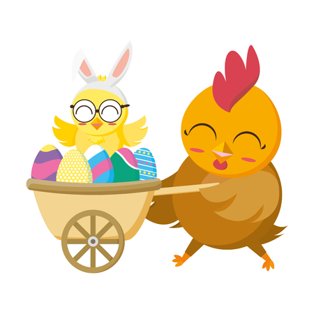 beautiful hen with egg painted in wheelbarrow vector illustration design Foto de archivo - 124146203