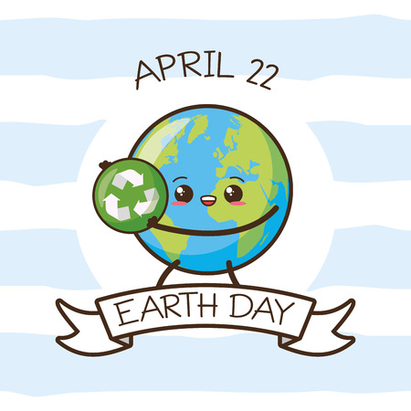 kawaii planet with recycle sign earth day vector illustration Stock Illustratie