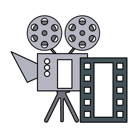 cinema projector and movie tape icon vector illustration design