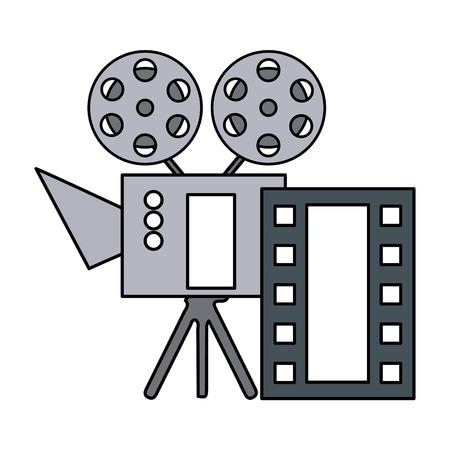 cinema projector and movie tape icon vector illustration design Foto de archivo - 124146216