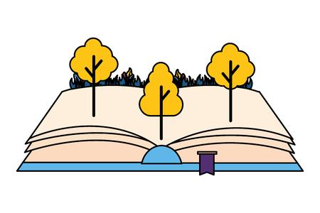 Livre ouvert arbres nature sur fond blanc vector illustration