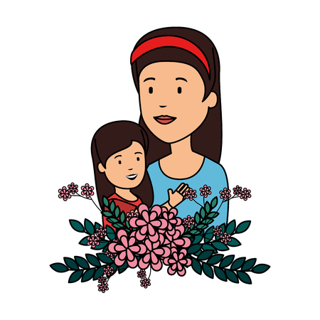 beautiful mother lifting daughter with floral decoration vector illustration design Ilustração