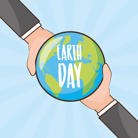 hands with planet earth day card vector illustration