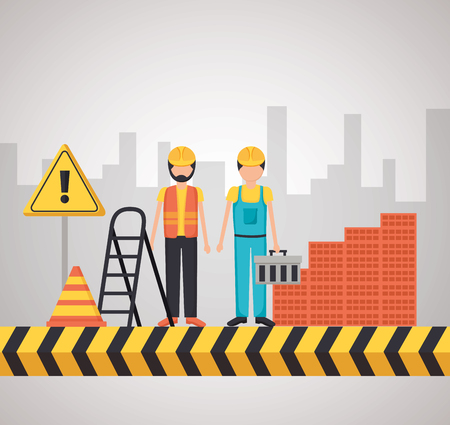 workers construction wall bricks stairs city vector illustration Illustration