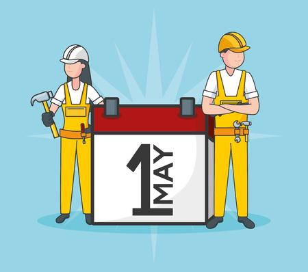 happy labour day man woman worker calendar vector illustration Фото со стока - 124146288