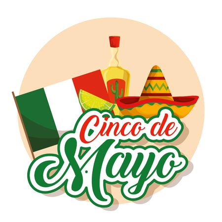 mexican flag with hat and tequila to event vector illustration