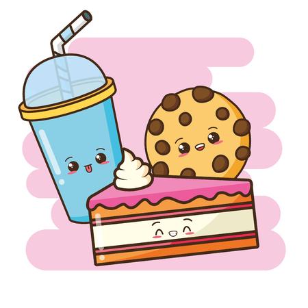 kawaii cake cookie soda fast food vector illustration