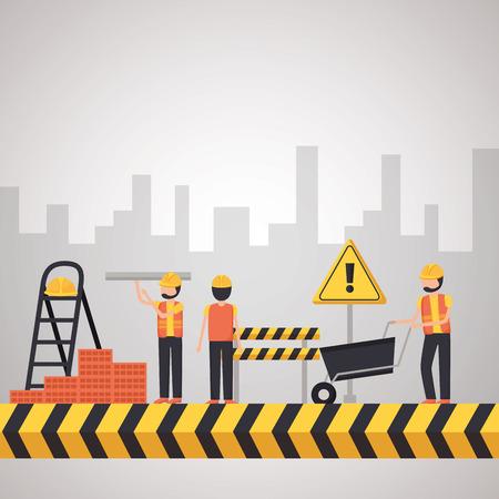 workers construction wheelbarrow bricks buildings vector illustration