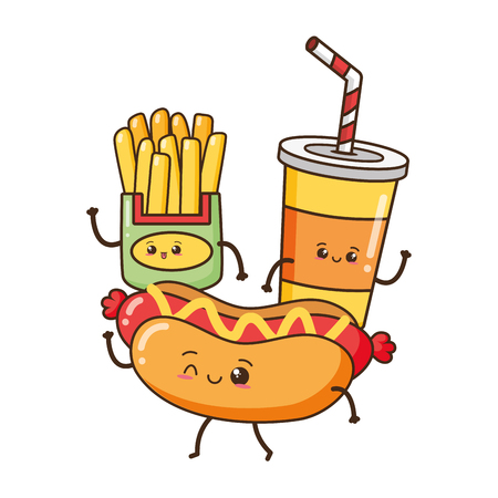kawaii hot dog soda french fries fast food cartoon vector illustration Illustration