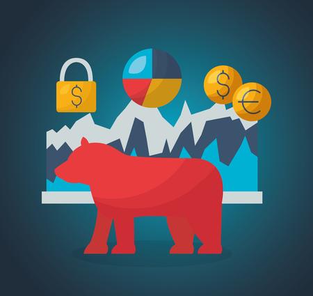 Bärenkrise Sicherheit Wirtschaft Finanzmarkt Vektor-Illustration