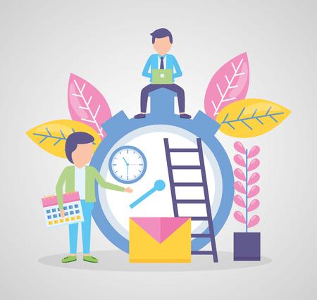 businessman with laptop sitting on clock people calendar vector illustration Иллюстрация